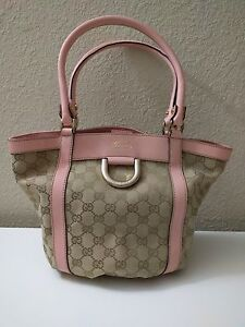 2726a93a92 NEW Gucci Handbag Small Tote- Pink Leather Trim, Sand GG Fabric w ...