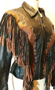Fringe-veste-en-cuir-par-Sunriders-Western-Wear-Women-039-s-SZ-M-Noir-Marron-Avec-Rivets