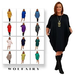 Wolfairy-Womens-Plus-Size-Dress-Italian-Lagenlook-Baggy-Tunic-Long-Sleeve