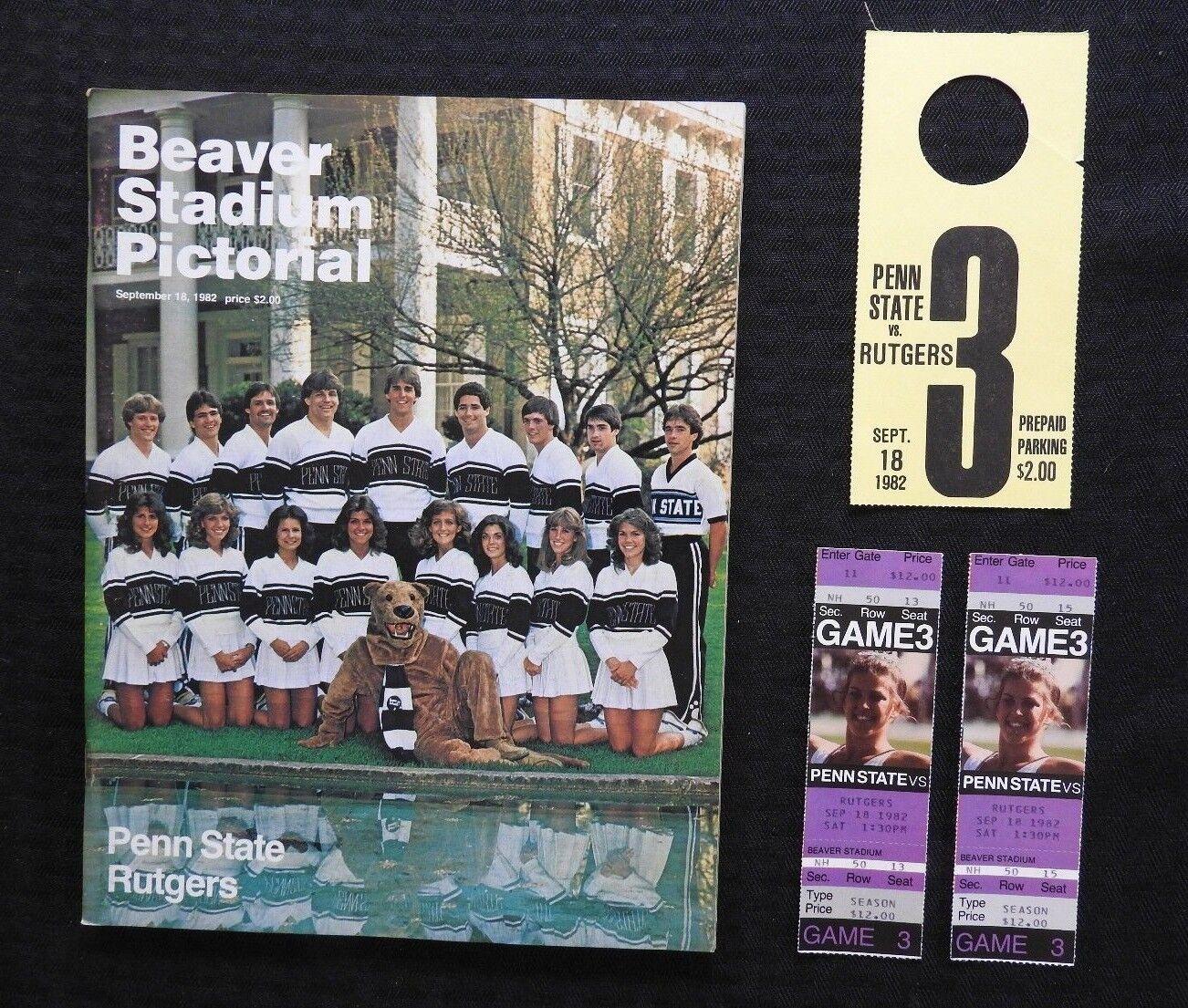 Septiembre 8 1982 Penn Estado Leones vs Rutgers Fútbol Programa + 2 Completo