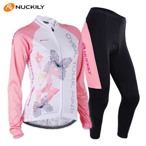 Women Long Cycling Sleeve Clothing Set Bicycle Wear Suit Jersey Pants S-XL Pink