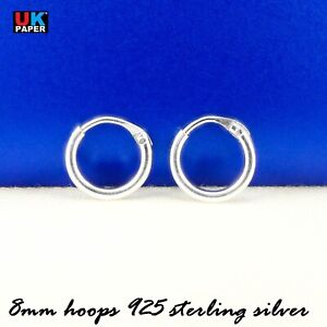Solid-925-Sterling-Silver-8mm-Small-Tiny-Hinged-Hoop-Sleeper-Earrings-Rings-Pair