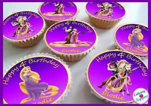 Image Is Loading 24 Disney Tangled Rapunzel Birthday Celebration Personalised Cake