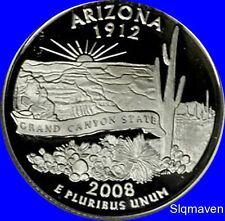 2008 S Clad Arizona State Quarter Deep Cameo Gem Proof No Reserve