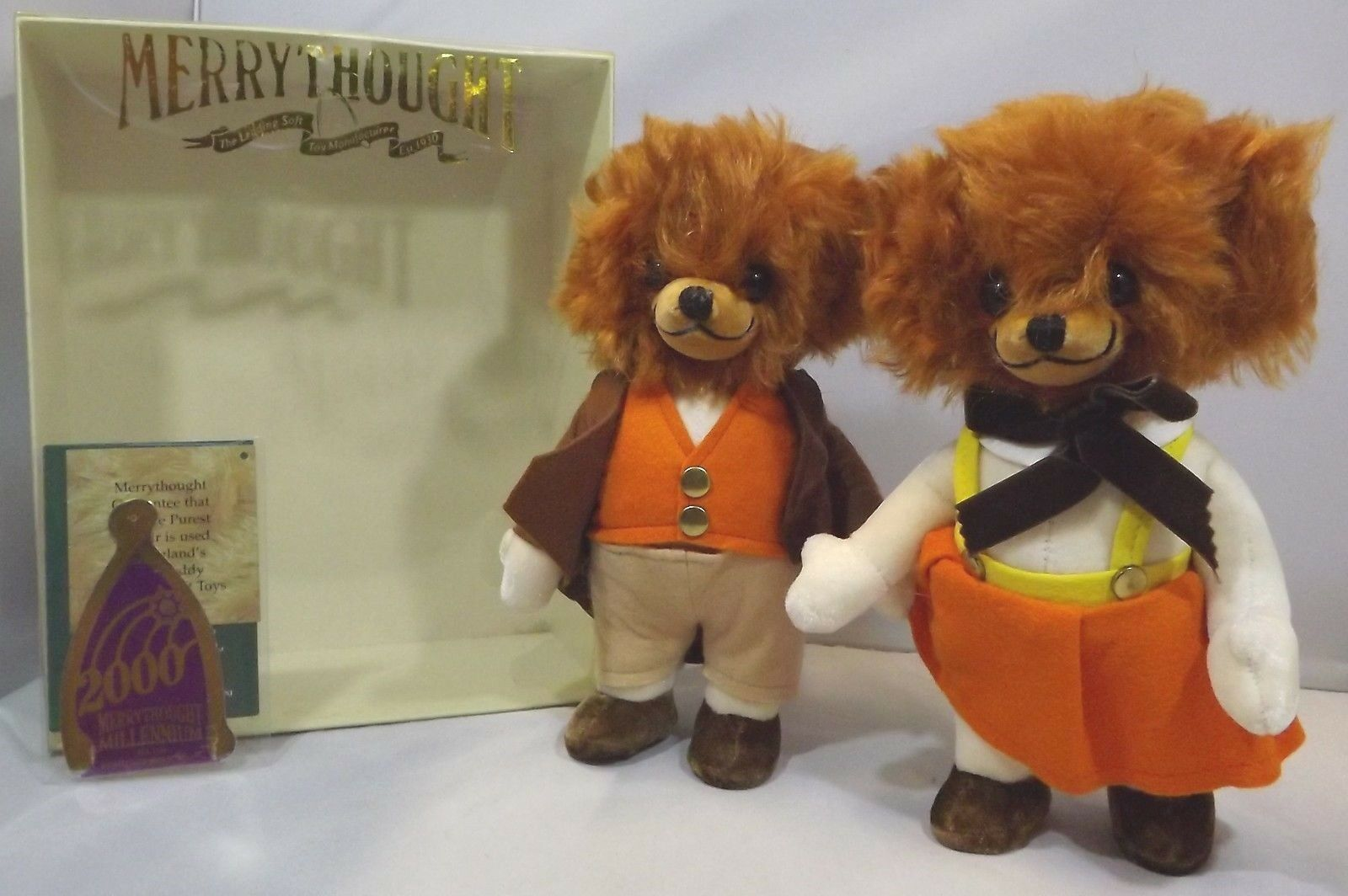 Boxed Merrythought 23cm Pair Mr & Mrs Twisty Cheeky Teddy Bears Sunday Best
