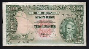 NEW-ZEALAND-P-161c-1967-10-Pounds-Fleming-No-Thread-Prefix-6F-VF
