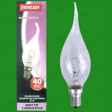 10x 40W Clear Bent Tip Dimmable Candle Light Bulbs, SES, E14, Small Screw Lamps
