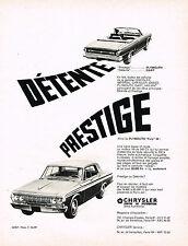 PUBLICITE ADVERTISING 054  1964  CHRYSLER   PLYMOUTH   DAR & FURY