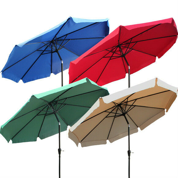 NEW 8ft 9ft 10ft Aluminum Outdoor Patio Umbrella Market Yard Beach w/ Crank Tilt