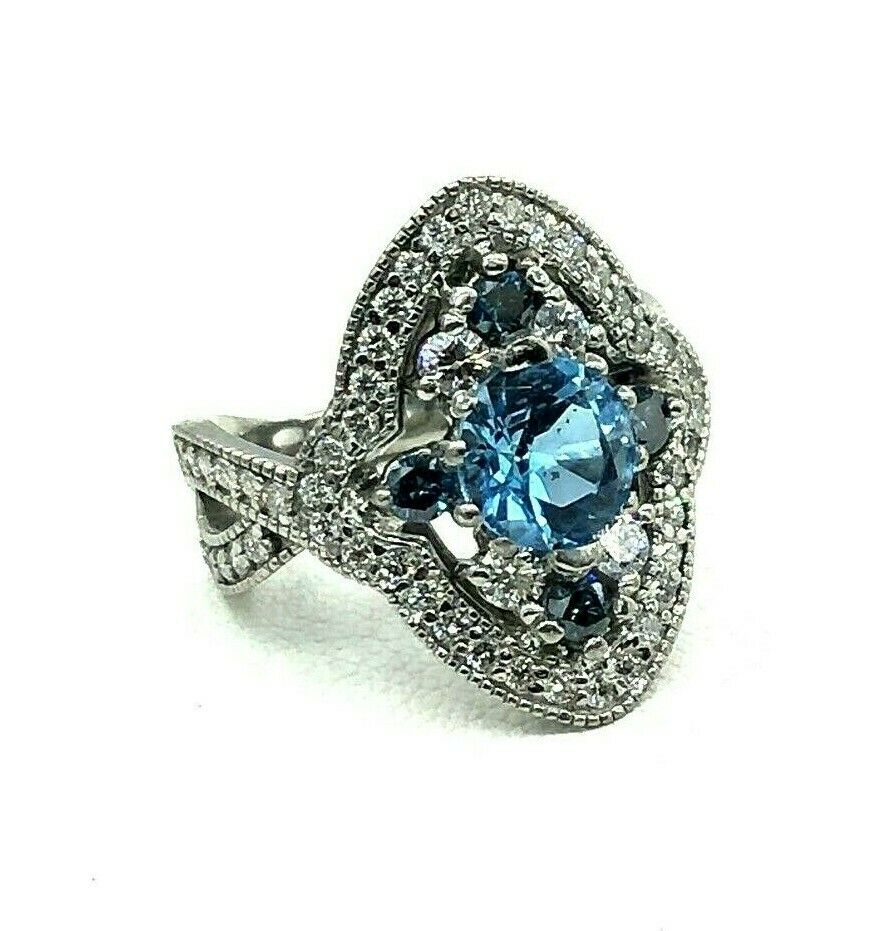 Vintage Classic 0.65 cts of diamonds Platinum blueeee stone Diamond Ring size 5.75