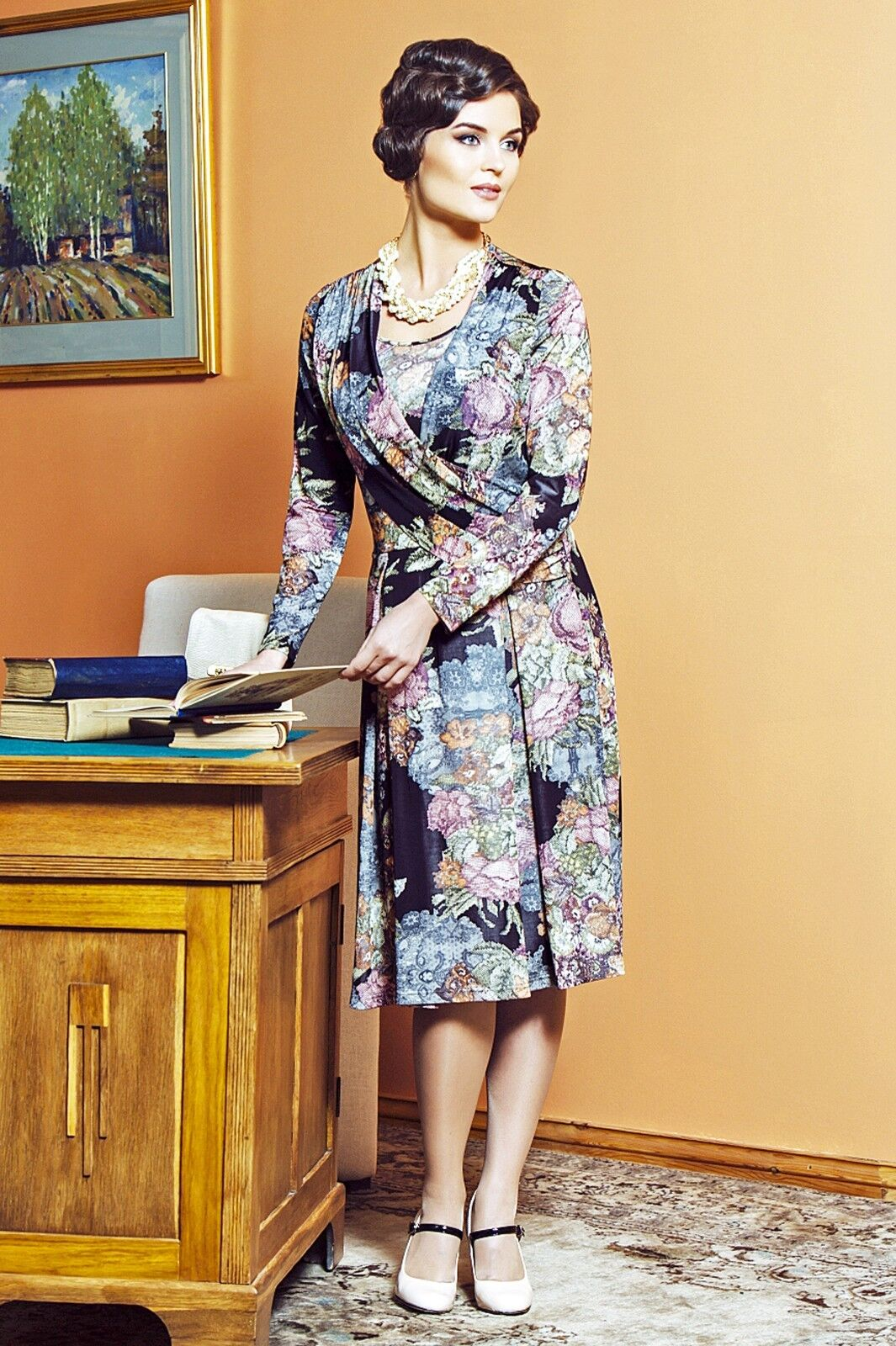 ELEGANT PARTY PARTY PARTY DRESS SILKY VISCOSE MADE IN EUROPE LONG SLEEVE KNEE LENGTH f30a12