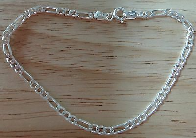 """9/"""" Sterling Silver Tiny 3 mm wide Figaro Chain Ankle Bracelet"""