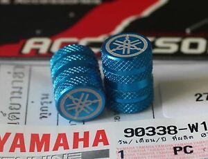 Yamaha-Genuine-Rueda-Valvula-Polvo-Tapa-Juego-De-Dos-acabado-moleteado-Azul