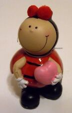 4 Inch Resin LADY Bug With Pink Heart Valentines Day Figurine Decoration Gift