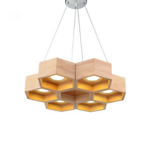 reputable site 3c18a fdbd8 Details about Modern LED Wood Light Chandelier Pendant Lamp Fixture  Honeycomb Bedroom New
