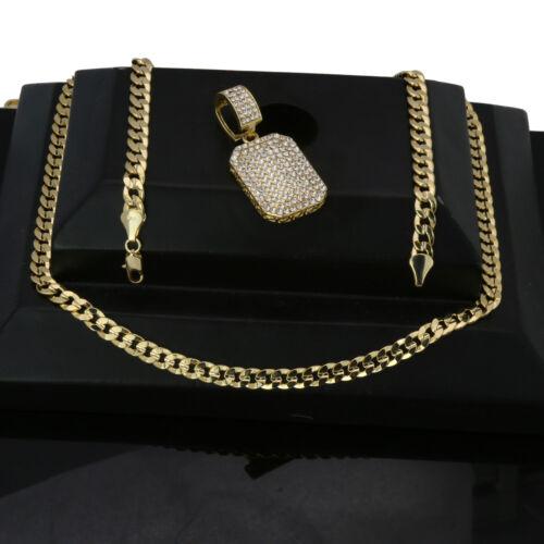 "Men/'s Hip Hop 14k Gold Plated  Cz Big DOG TAG Pendant Cuban Chain 30/"""