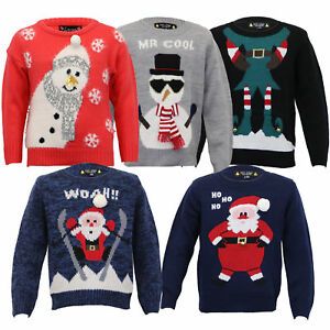 73ebd6a3b Boys Christmas Girls Jumper XMAS Kids Santa Snowman Knitted Reindeer ...