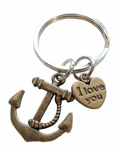 I Love You Heart Charm with Bronze Anchor Keychain You/'re the Anchor in my Life