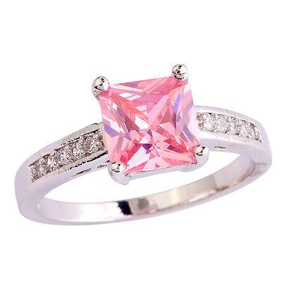 Wedding Pink & White Topaz Gemstone Silver Ring Size  7 8 9 10 Free Shipping