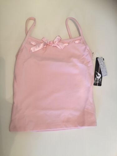 Girls Pink Satin Ribbon Vest Top ideal for dance classes various sizes