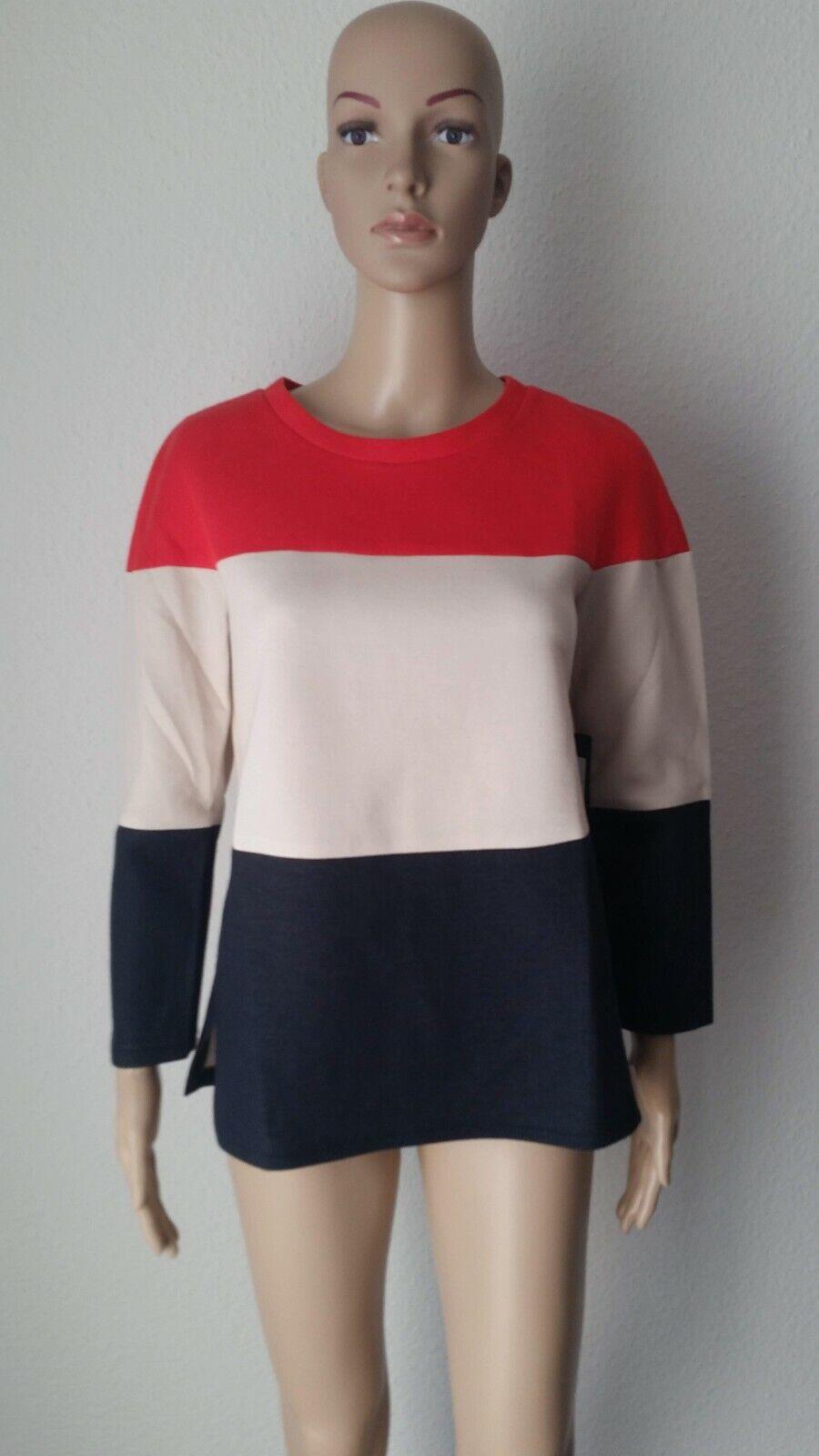 Riani  Sweatshirt, breite Streifen in rot - schwarz - weiß, Größe 34