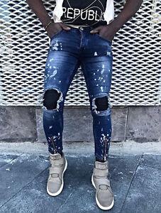 En D Coupe Pantalon Slim Jeans Homme Denim cBnqPI