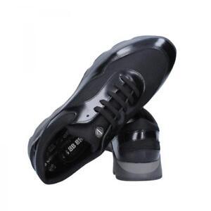 BALDININI-scarpe-uomo-sneakers-colori-nero-e-blu-in-pelle-e-tessuto