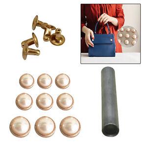 100 Stück Weiss Halbrunde Perlen Nieten Set Ziernieten Perlennieten