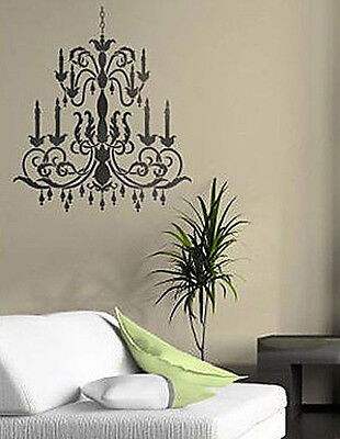Chandelier wall paper collection on ebay chandelier wall art stencil medium reusable wall stencils for diy home decor aloadofball Gallery