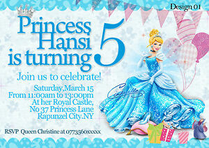 Personalized birthday party invitations princess cinderella 8 image is loading personalized birthday party invitations princess cinderella 8 invites filmwisefo
