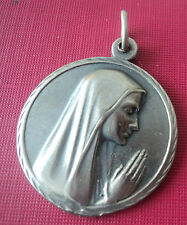 Vintage French Silver Religious Medal / Pendant 1960s  France -  Mary / Lourdes