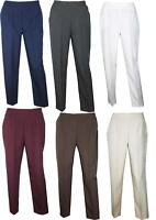 Womens Ladies Plus Size Straight Leg Elasticated Pants Trousers 16 18 20 22 24
