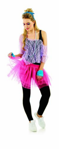 Womens 80s Party Baby Tutu Costume Beads Ladies Retro Fancy Dress Festival