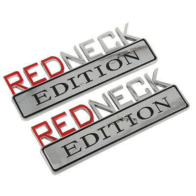 3D Metal Black And White Redneck EDITION Sticker Fit For Car Trunk Outside Letter Badge Emblem Logo 80x32mm