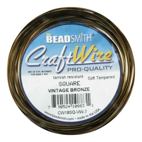 Twist-Square-1//2 Round Bead Smith Wire Soft Tempered 18-21 gauge 6 colors