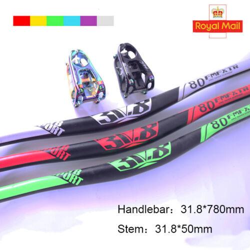 UK MTB//DH//XC Bicycle Handlebar//Stem 31.8mm*780mm 10 Degree 2.6mm Thickness Bar