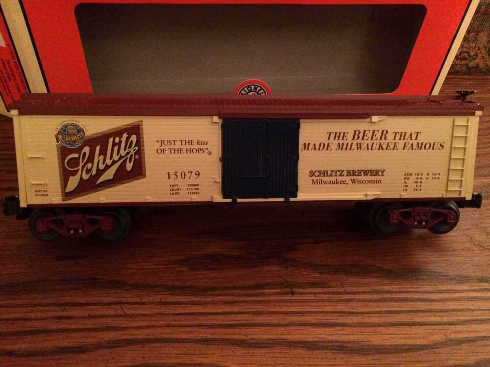 Lionel 15079 Schlitz Wood-Sided Reefer Nuovo in Box
