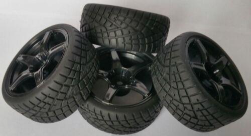1//10 RC voiture sur route//Touring//Rallye Wheels /& Tyres 5 Spoke x4 bloc de roulement