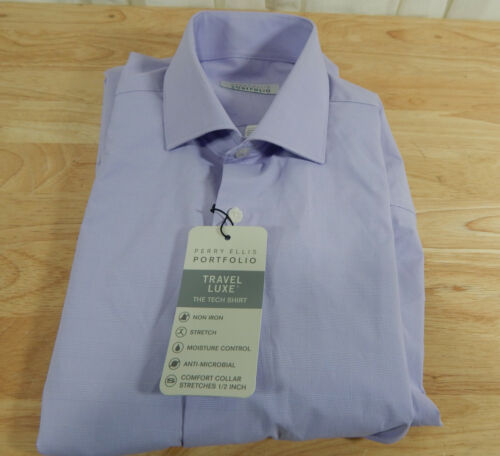 USED Men/'s Perry Ellis Portfolio Travel Luxe Long Sleeved Dress Shirt