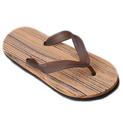 Mens Luxury Anti-slip Wood Slip On Flip Flop Strap Thongs Slippers Beach Sandals