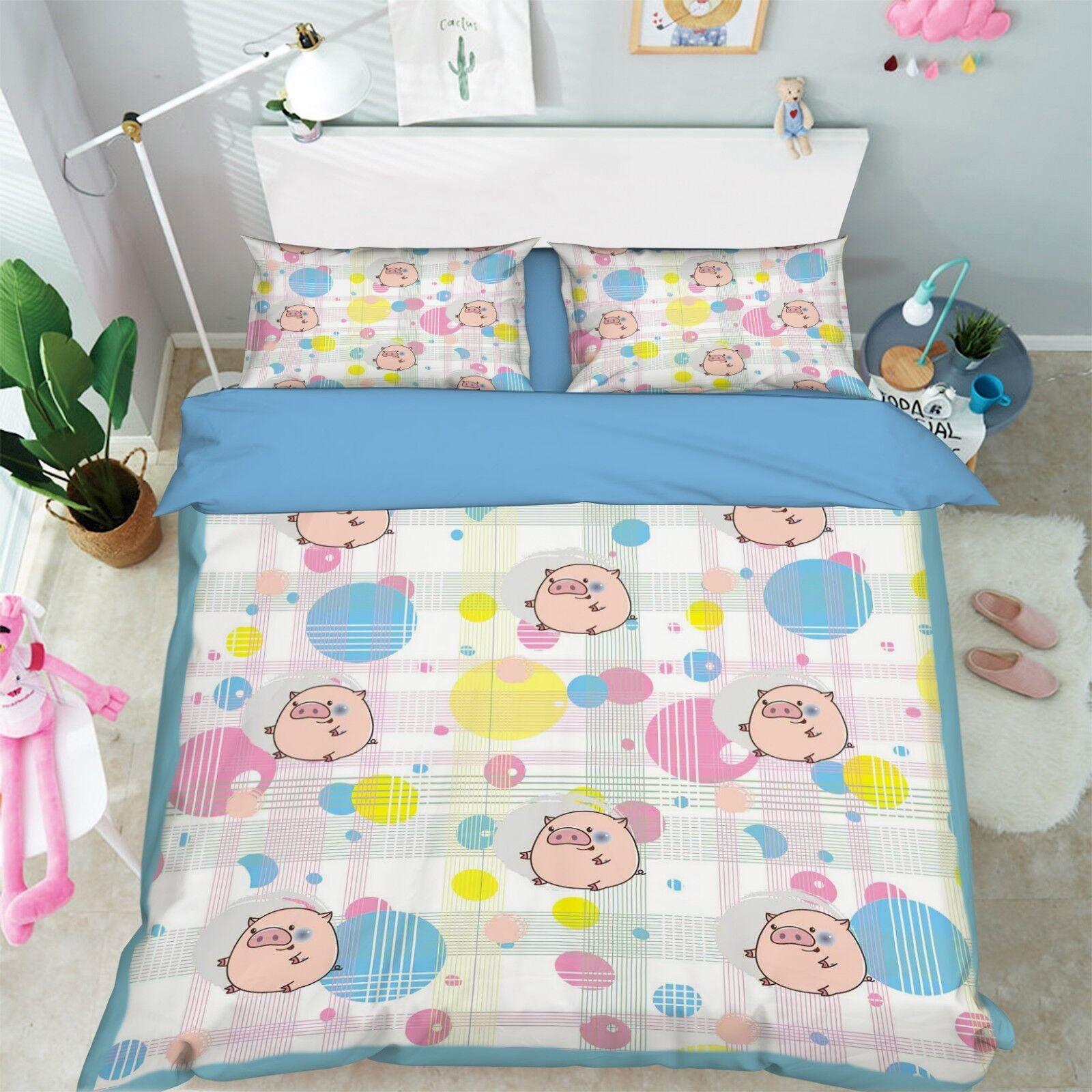 3D Cartoon Pig Kid 6 Bed Pillowcases Quilt Duvet Cover Set Single King UK Summer