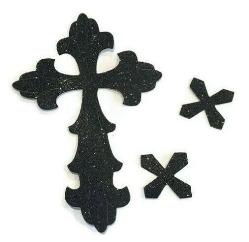 Peel /& Stick Glitter LARGE Cross Sticker Self Adhesive Halloween Card Making