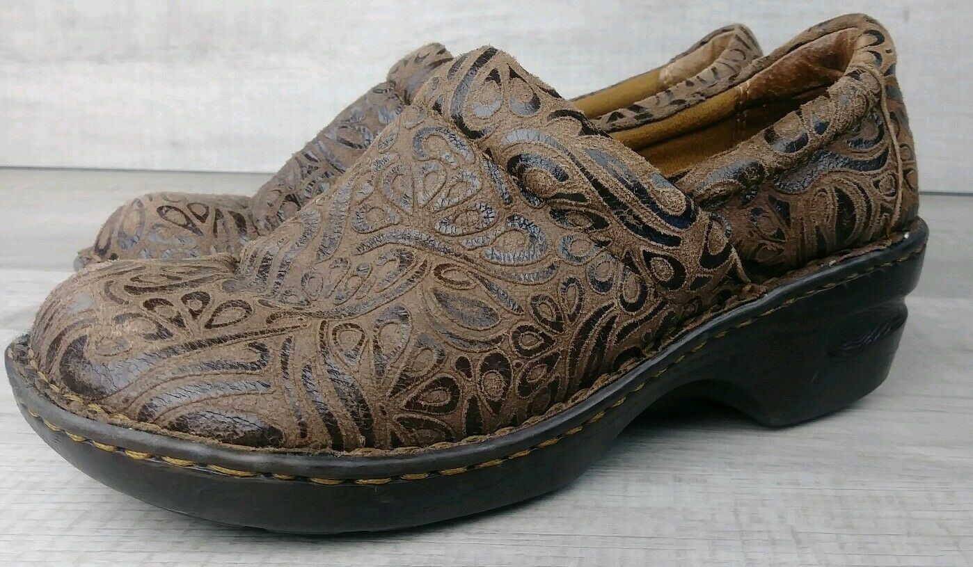 BOC Peggy Clogs Tumbled Brown Leather Tooled Comfort shoes Women's US Size 8.5