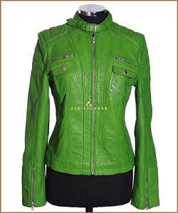 Candice Black Ladies Woman Biker Style Designer Real Real Sheep Leather Jacket