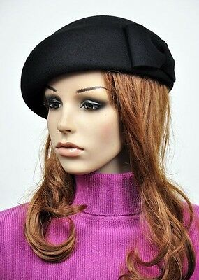 M60 Elegant Bow 100% Wool Women's Winter Church Tea Dress Hat Cap Fedora BLACK