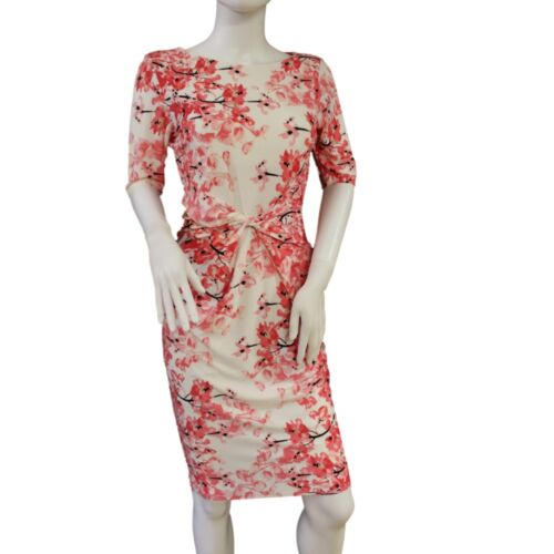 Branded Feminine Flattering Silhouette Bodycon Floral Short Sleeve Dress