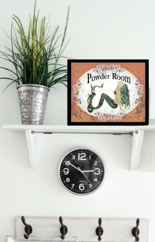 Powder Room Black Haired Mermaid Flowers Bathroom Wall Art