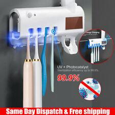 2020 UV Light Toothbrush Holder Cleaner Toothpaste Dispenser Wall Mount USA SL