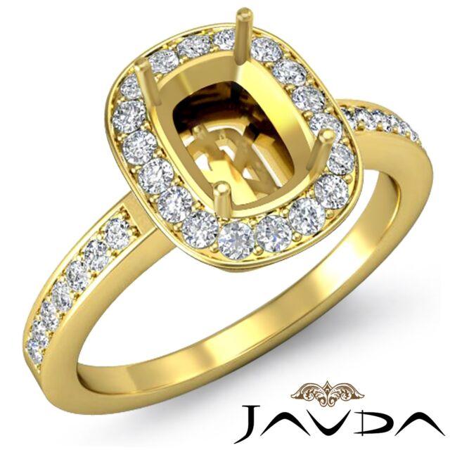 Cushion Shape Semi Mount 1Ct Diamond Engagement 14k Yellow Gold Halo Set Ring