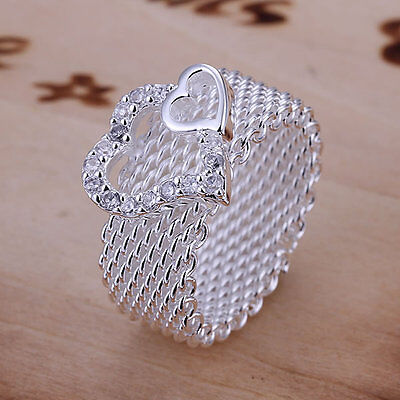 *UK* 925 SILVER PLT WOVEN CHAINMAIL HEART BAND RING WIRE CHAIN WICKER THUMB NET